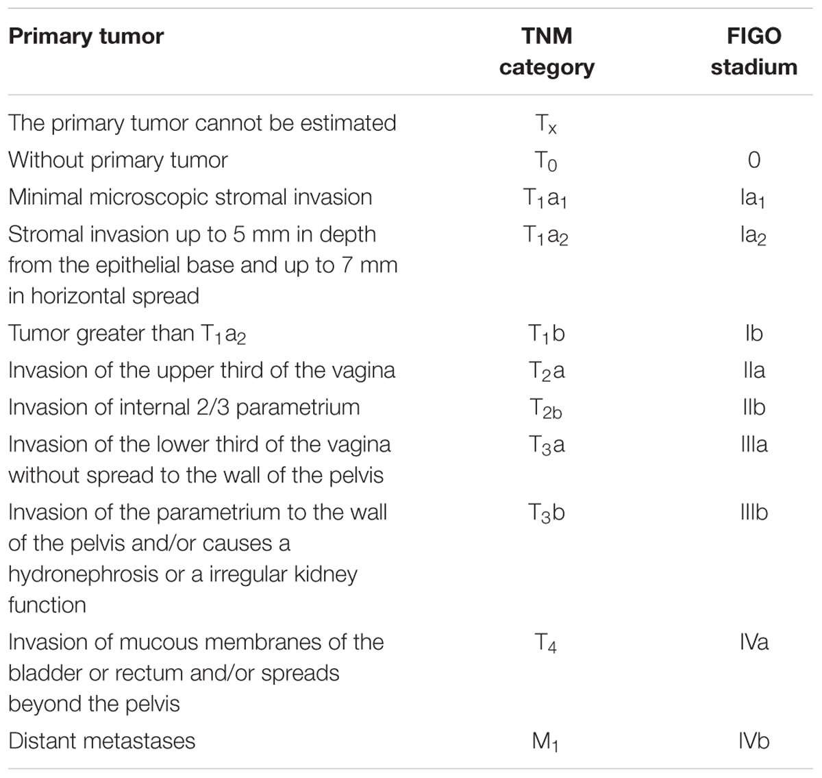 cervical cancer tnm staging)