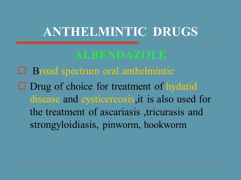 anthelmintic symptoms