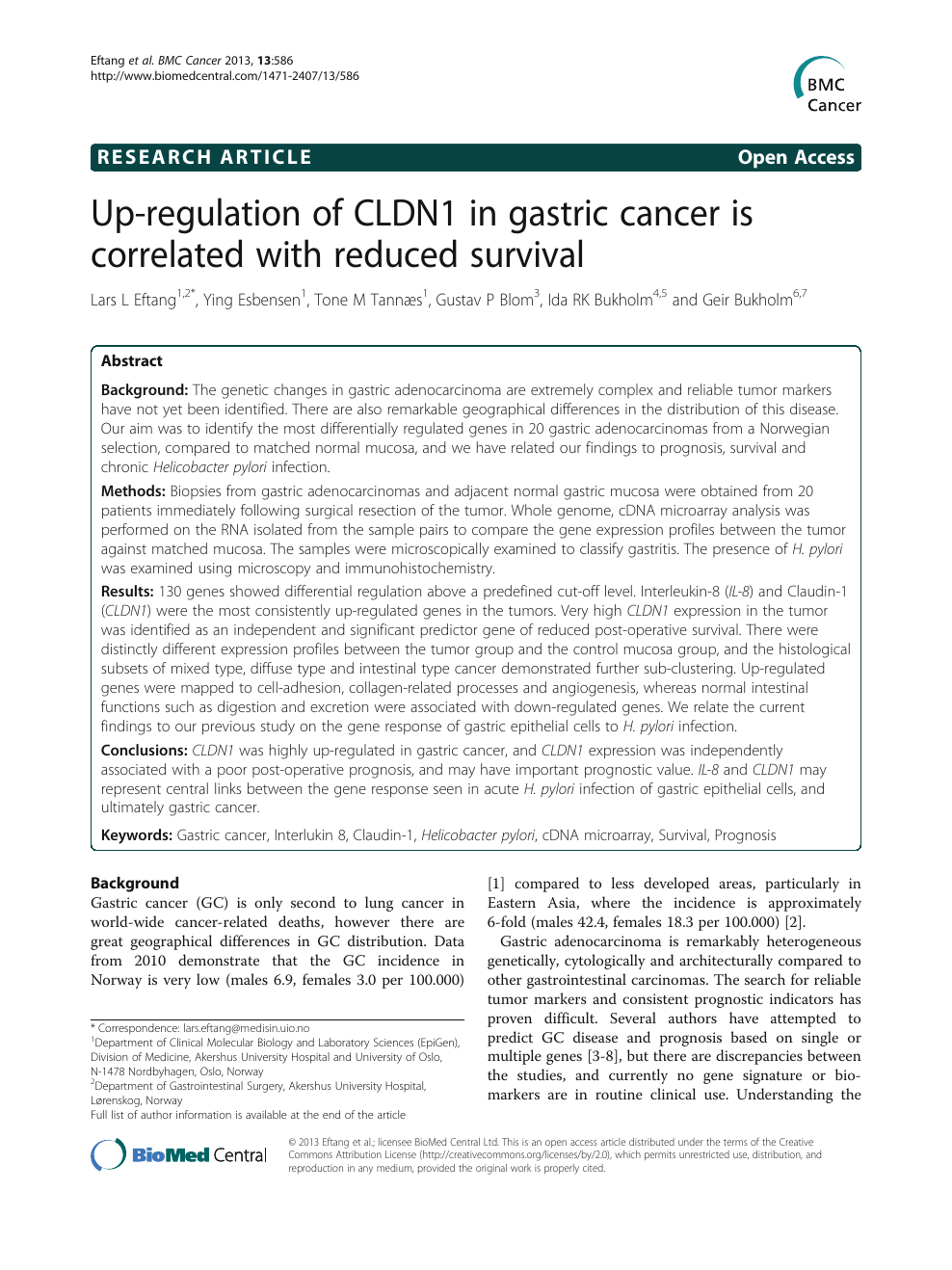 gastric cancer article)