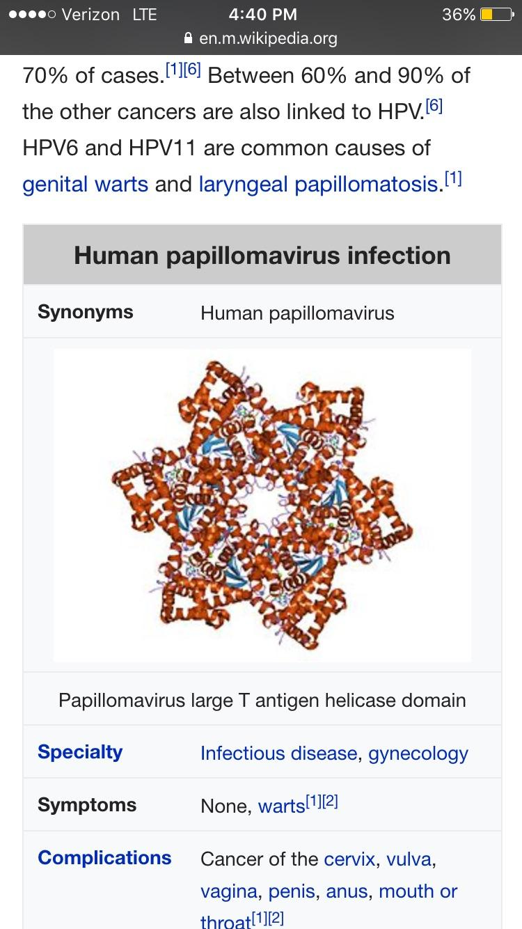 papillomavirus infection complications)