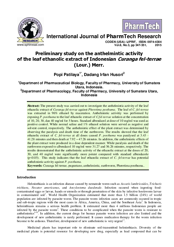 anthelmintic potential of herbal drugs