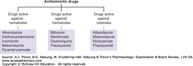 common anthelmintic drugs