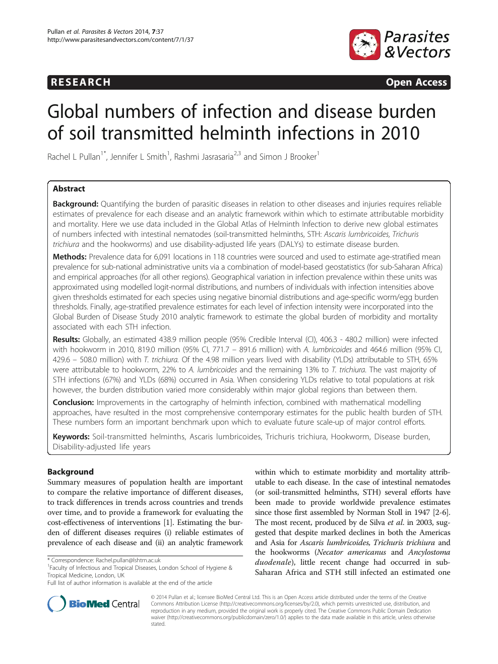 helminth infections and their impact on global public health)